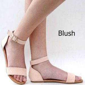 New Blush One Band Ankle Strap Flat Sandals